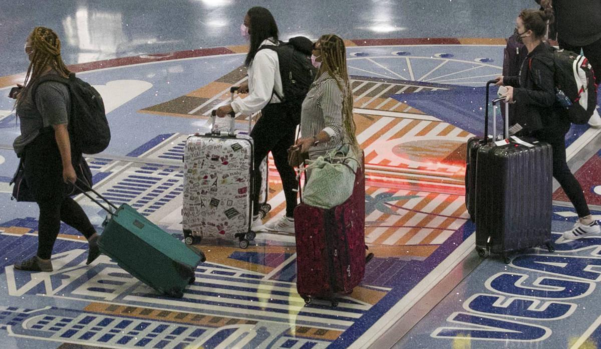 Arriving passengers at McCarran International Airport on Thursday, June 4, 2020, in Las Vegas. ...