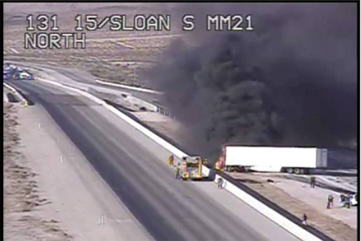 Interstate 15 was closed in both directions south of Las Vegas on Thursday, June 4, 2020, after ...