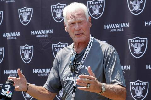 Former NFL football player Phil Villapiano speaks at a news conference as part of Oakland Raide ...
