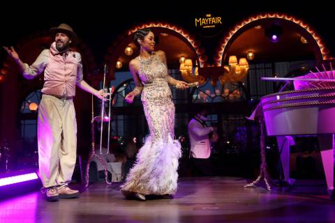LaShonda Reese and Jean-Francois Thibeault perform at The Mayfair Supper Club at the Bellagio o ...