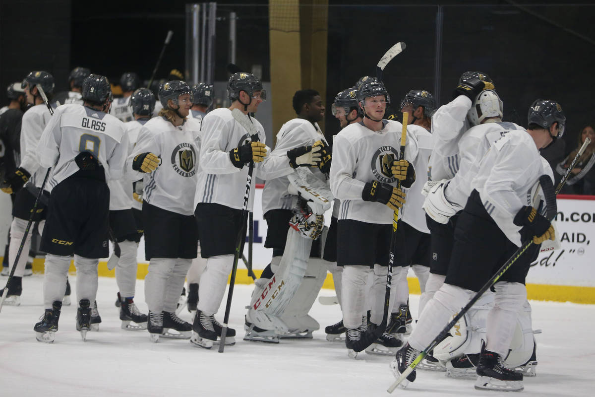 Vegas Golden Knights players following a team scrimmage at City National Arena in Las Vegas, Fr ...