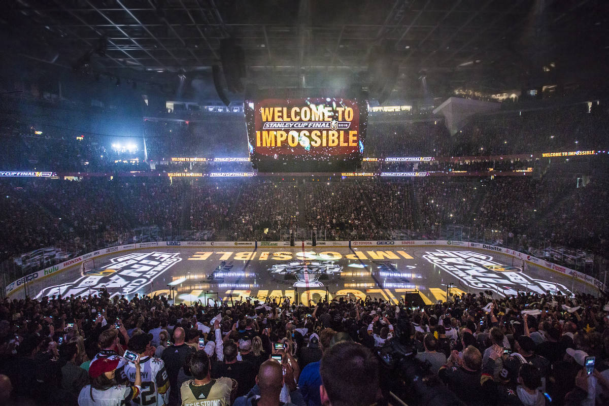 T-Mobile Arena is packed for Game 1 of the NHL Stanley Cup Finals before the start of the Golde ...