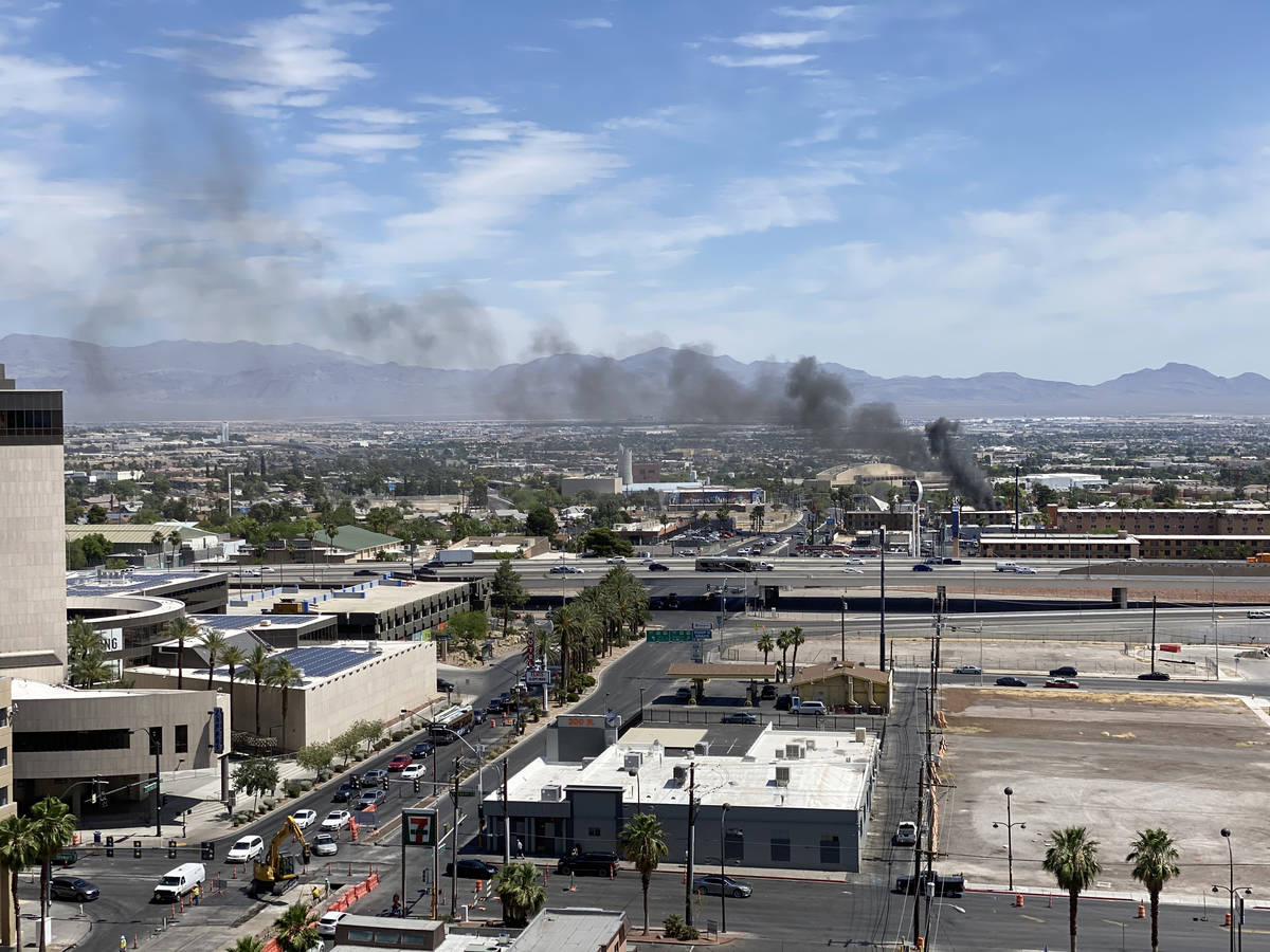 A fire at Siegel Suites at 700 Las Vegas Blvd. North, near Bonanza Road Friday, June 5, 2020. ( ...