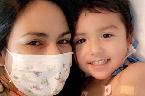 Karen Sombra cuddles with son Sebastian Rodriguez on Thursday, June 4, 2020. (Karen Somba)
