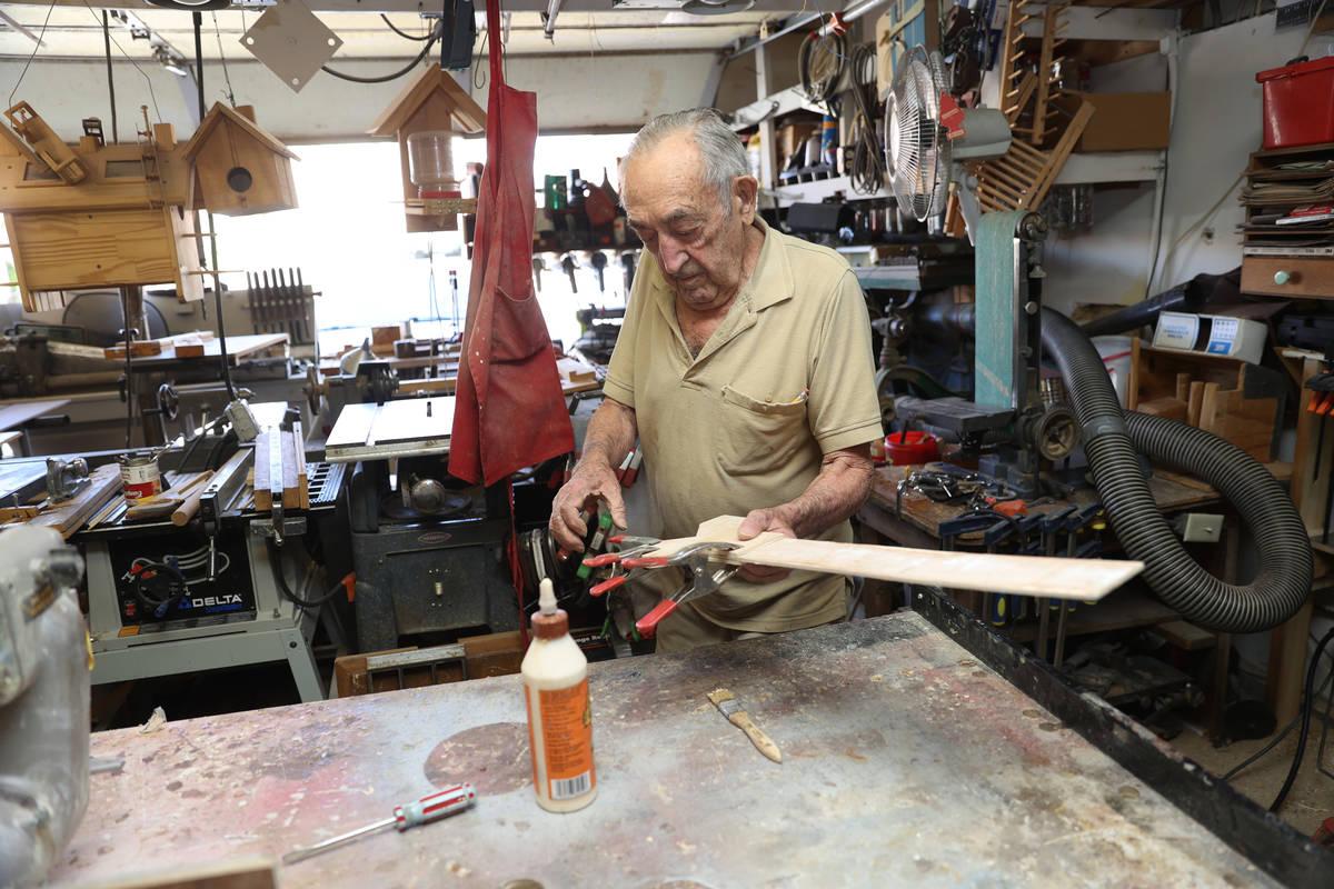 "Onofrio ""No-No"" Zicari, 97, a World War II veteran, at his home in Las Vegas, Friday, ..."