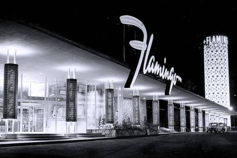 The Flamingo hotel as it appeared in the 1950s (Courtesy Nevada State Museum)