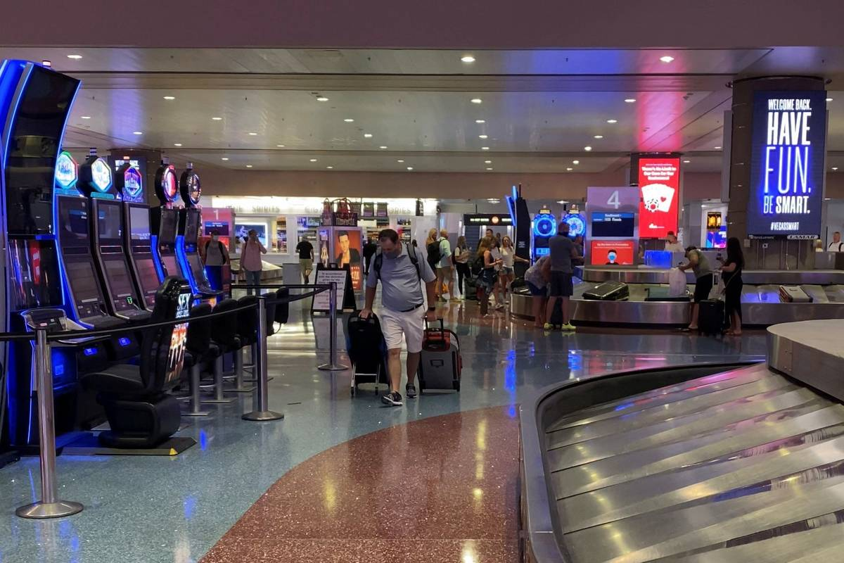 Travelers arrive in Las Vegas at McCarran International Airport on Friday June, 5, 2020. (Mick ...