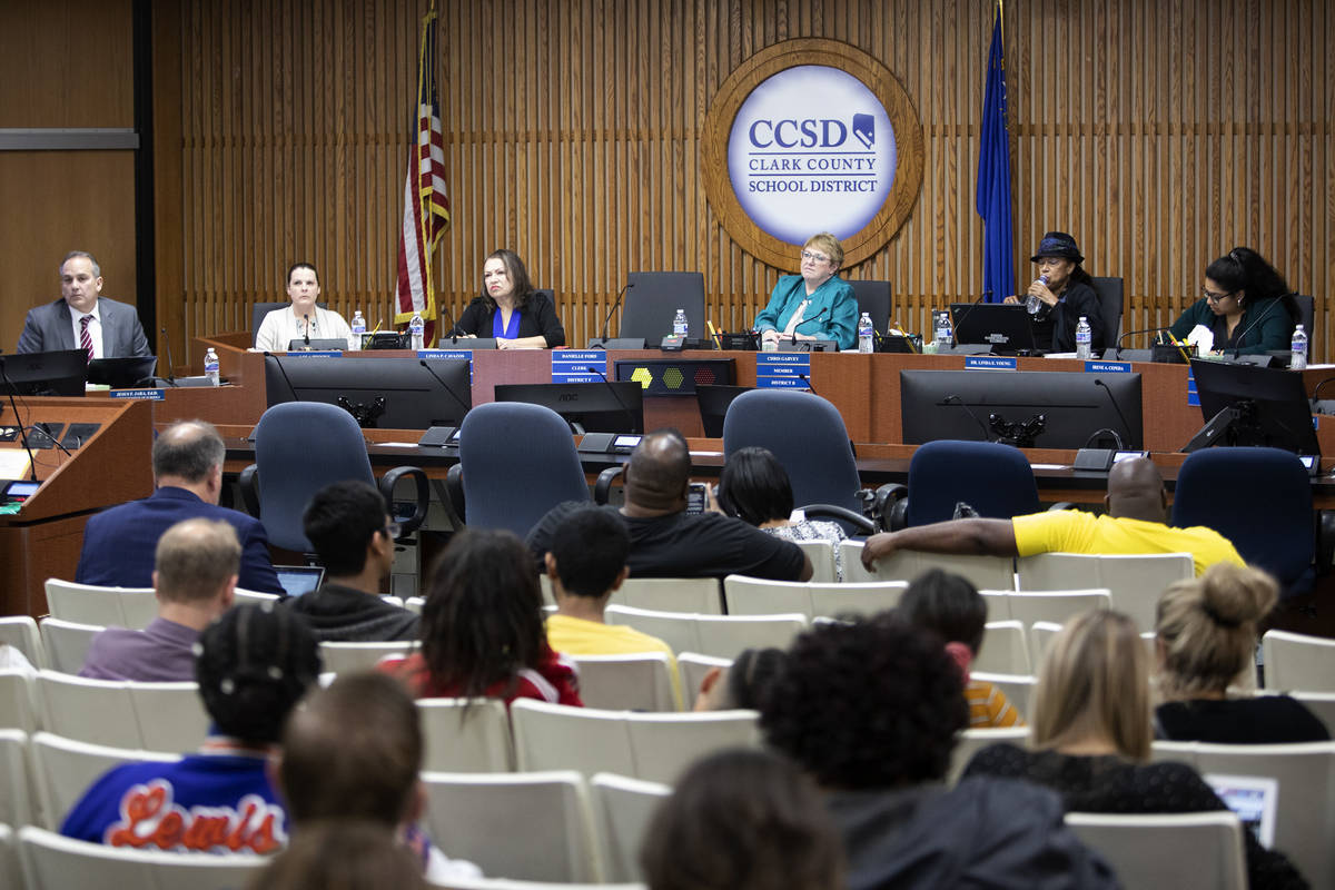 A Clark County School District Board of Trustees meeting addressed COVID-19 concerns, including ...