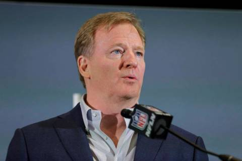 In this Feb. 3, 2020 file photo NFL Commissioner Roger Goodell speaks during a news conference ...