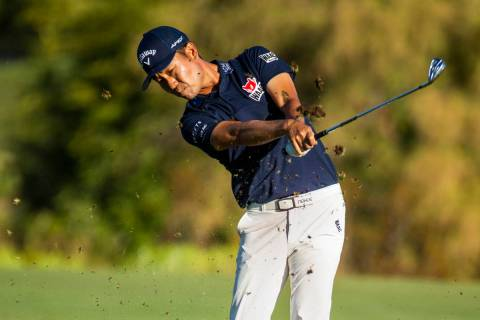 Kevin Na blasts a ball from the fairway on hole 18 during the third round of Shriners Hospitals ...