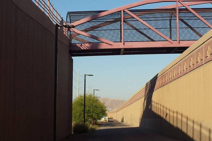 This pedestrian bridge crosses over busy St. Rose Parkway to Cactus Wren Park. (Natalie Burt)