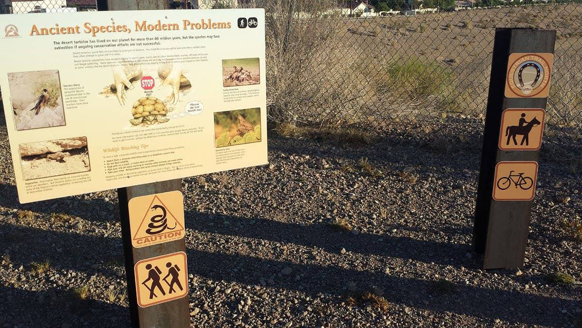 This sign near Equestrian Park reminds riders and walkers that the desert tortoise is under pro ...