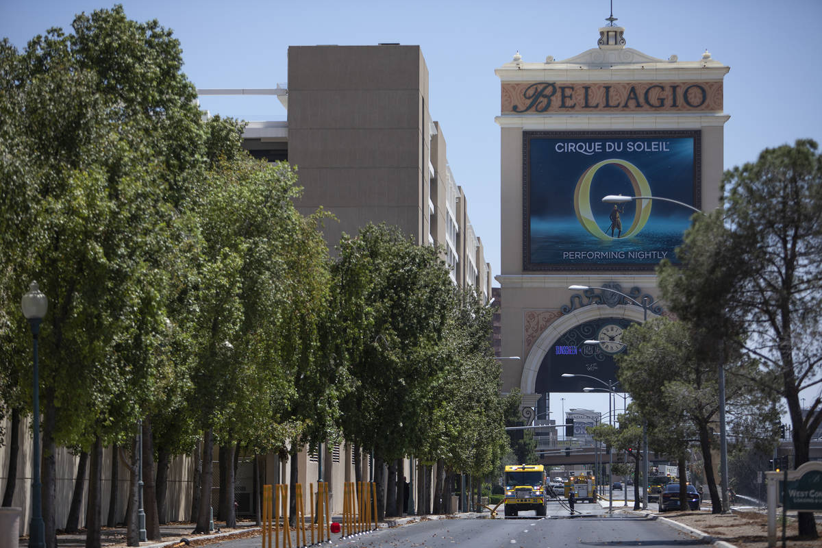 A fire occurred near the employee parking garage at the Bellagio on Saturday, June 6, 2020 in L ...