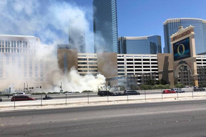 A fire is seen Saturday, June 6, 2020 outside the Bellagio in Las Vegas. (Katelyn Newberg/Las V ...
