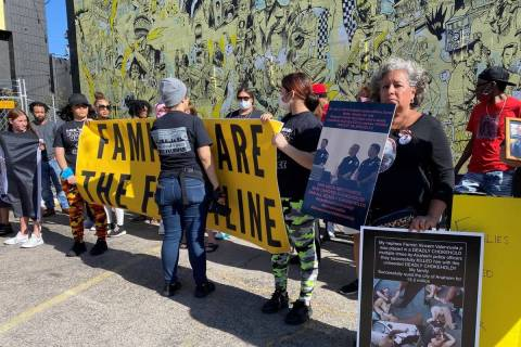 Protesters gather at the Families United 4 Justice rally in downtown Las Vegas on Saturday, Jun ...