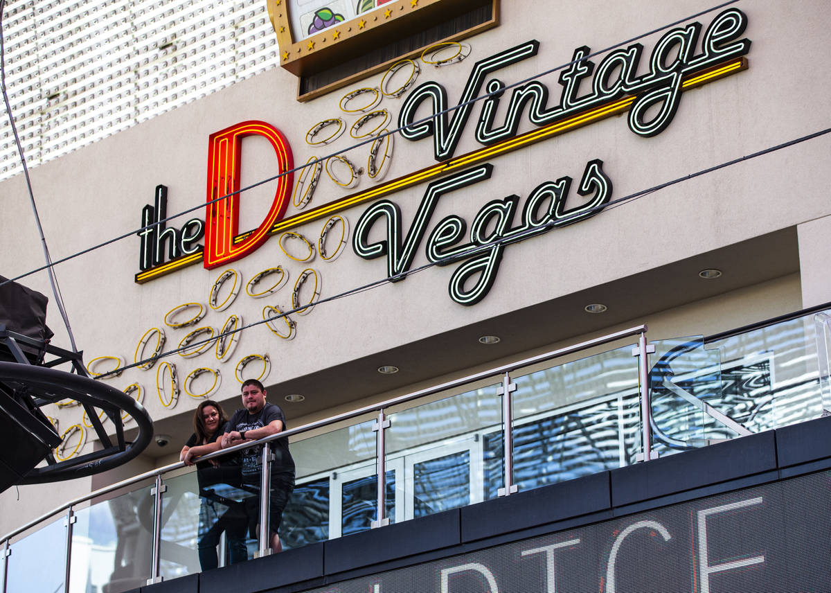 People take in the sights from the D Las Vegas at the Fremont Street Experience in downtown Las ...