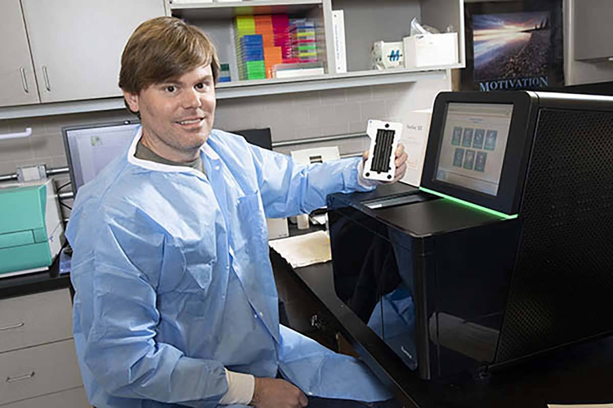 Paul Hartley, director of the Nevada Genomics Center at the University of Nevada, Reno, complet ...