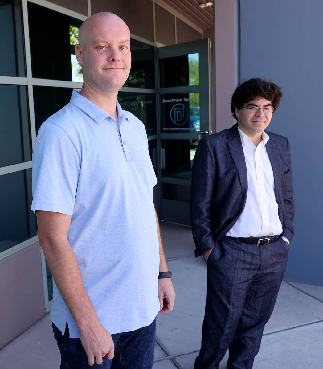 Matthew Davidow, left, and Ed Miller, co-founders of in-play betting company Deck Prism Sports, ...