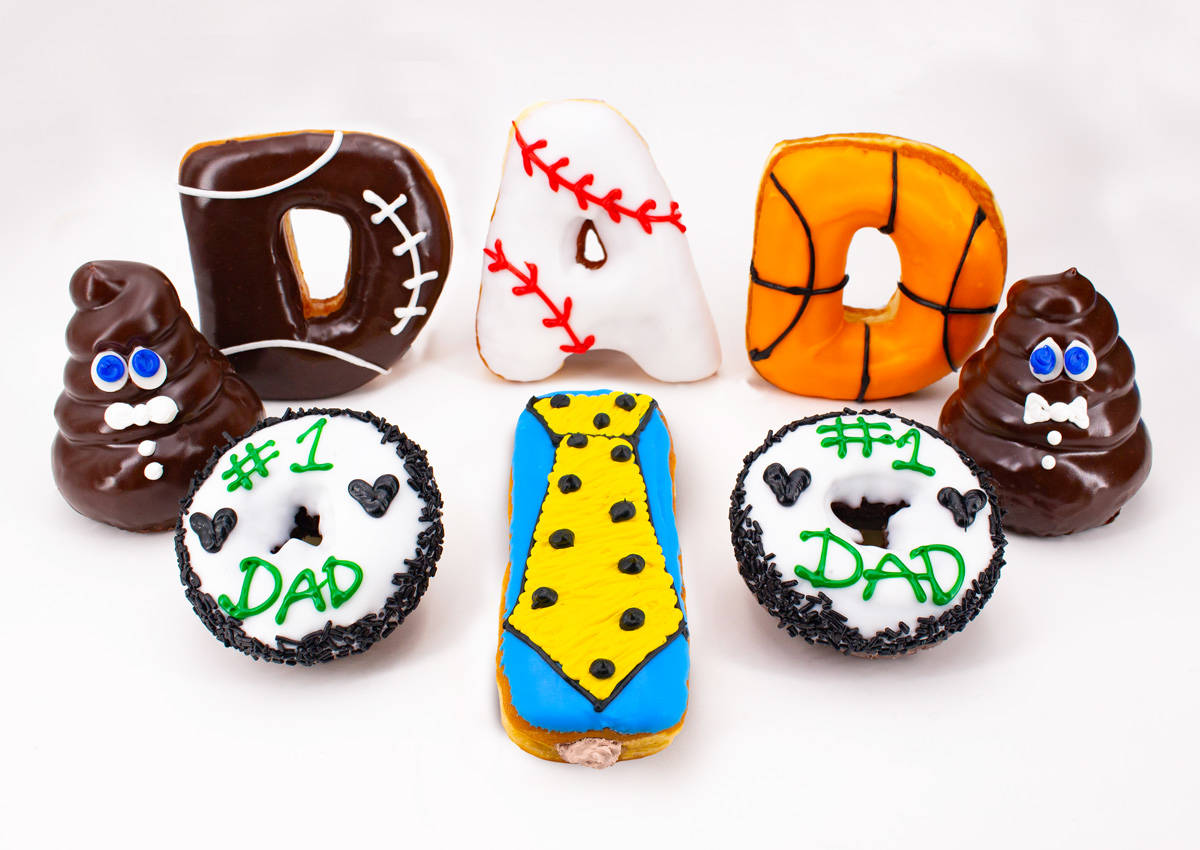 Father's Day-themed doughnuts available at Pinkbox Doughnuts locations. (Pinkbox Doughnuts)