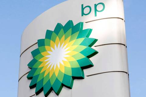 FILE - This Tuesday, Aug. 1, 2017 file photo shows the BP logo at a petrol station in London. E ...