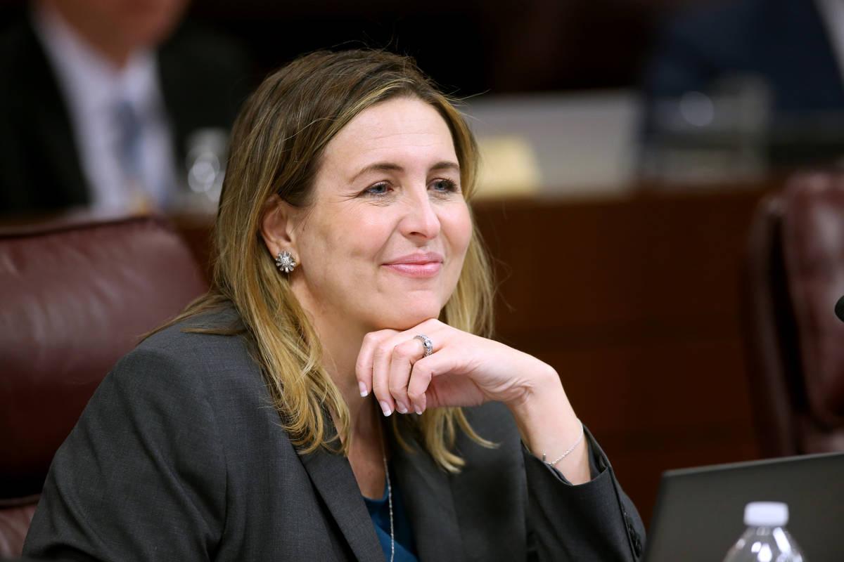 Assemblywoman Shea Backus, D-Las Vegas, listens to testimony during a Judiciary Committee meeti ...