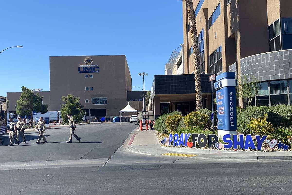 Las Vegas police continue to show their presence at University Medical Center where Officer Sha ...
