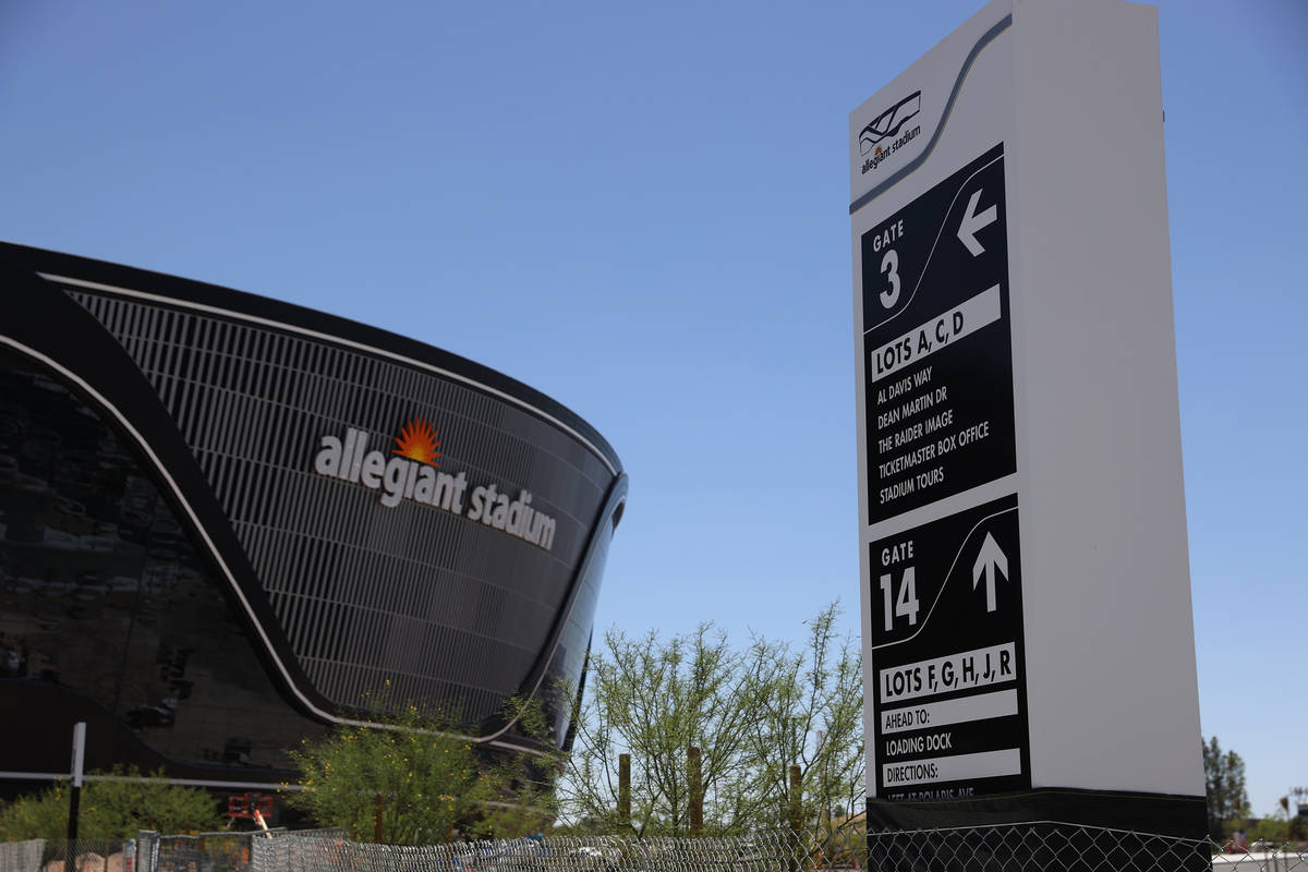 A newly installed Allegiant Stadium parking sign in Las Vegas, Saturday, May 23, 2020. (Erik Ve ...