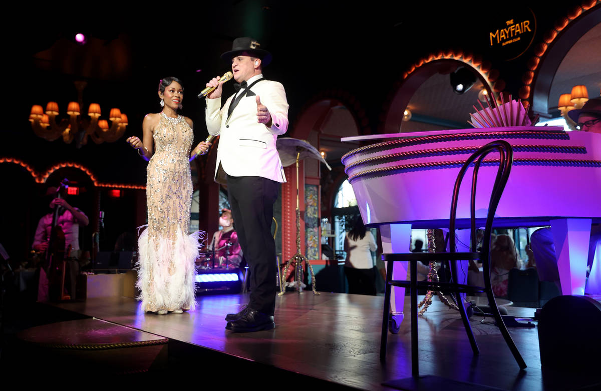 LaShonda Reese and Steve Judkins perform at The Mayfair Supper Club at the Bellagio on the Stri ...