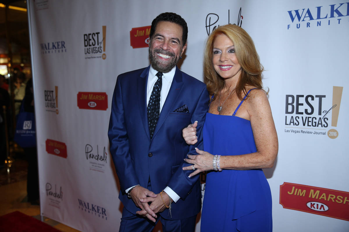 Clint Holmes and Kelly Clinton-Holmes arrive on the red carpet before the 2016 Best of Las Vega ...