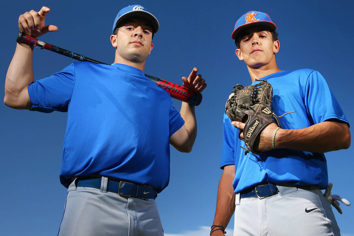 Brothers Austin, left, and Carson Wells are standout baseball players at Bishop Gorman High Sch ...