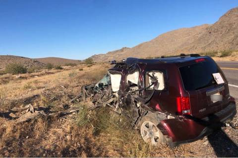 A Honda Pilot involved in a fatal crash on U.S. Highway 95 on Wednesday, June 10, 2020. (Nevada ...