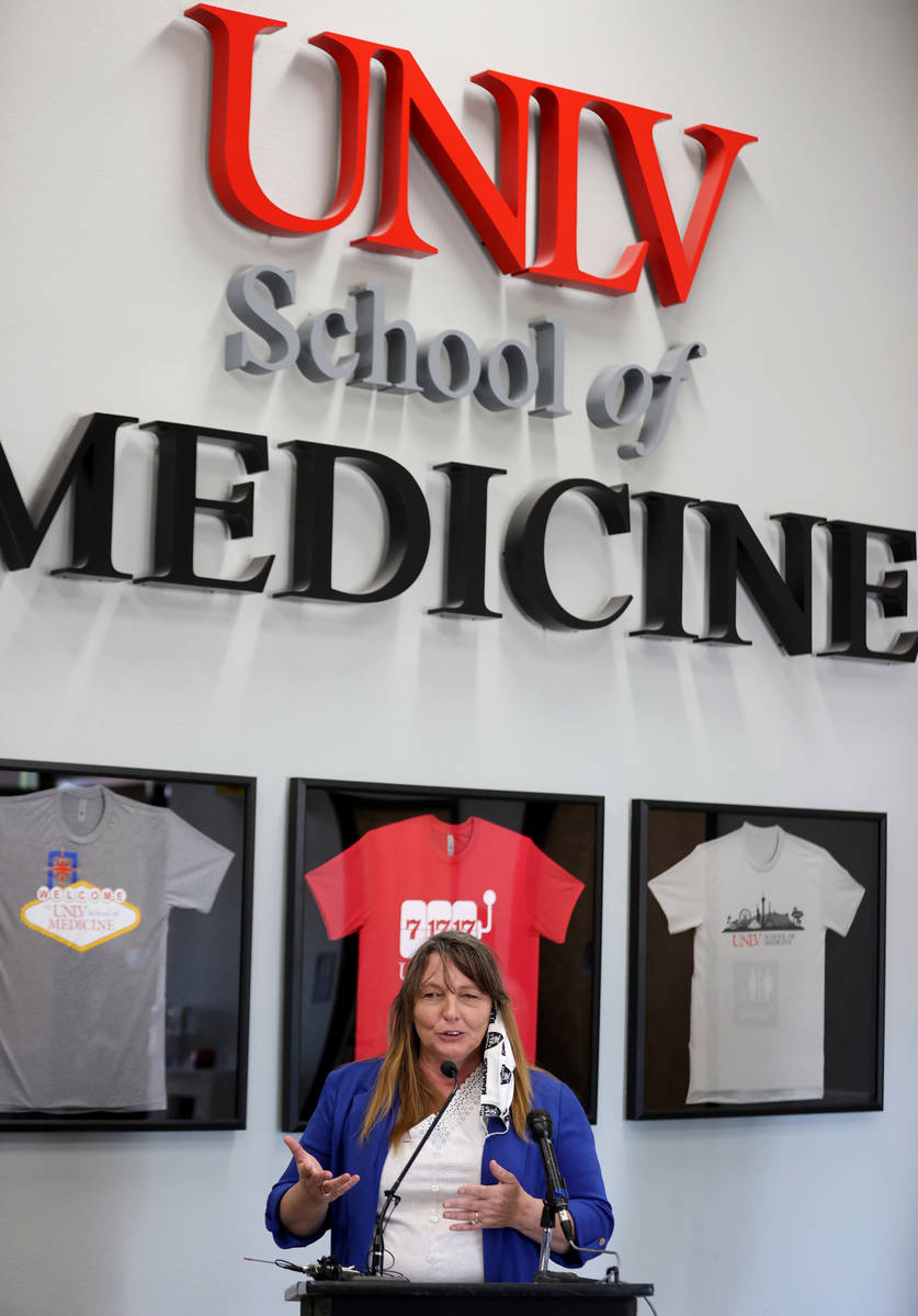 Clark County Commission Chairwoman Marilyn Kirkpatrick speaks during a news conference at UNLV ...
