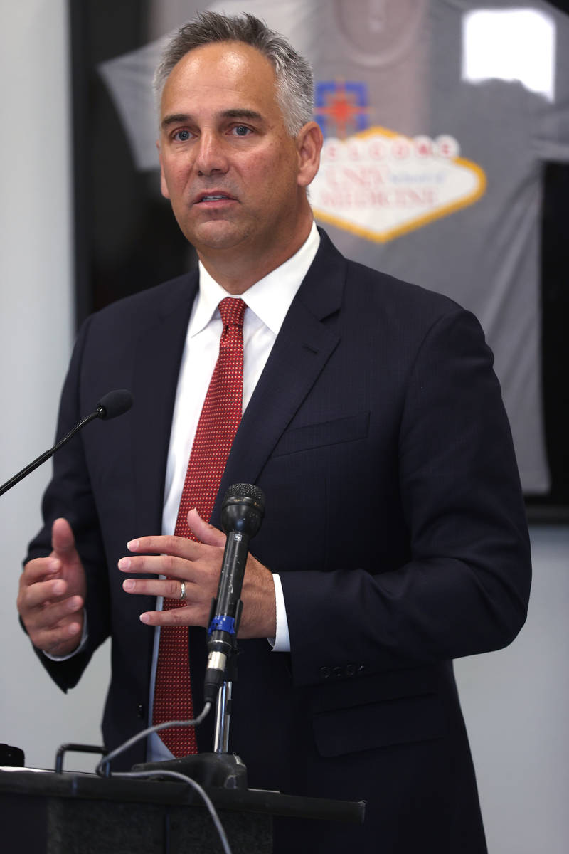 University Medical Center CEO Mason VanHouweling speaks during a news conference at UNLV School ...