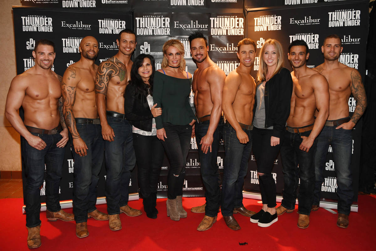 Britney Spears attends Thunder From Down Under with her mom, Lynn, fourth from left, and her as ...