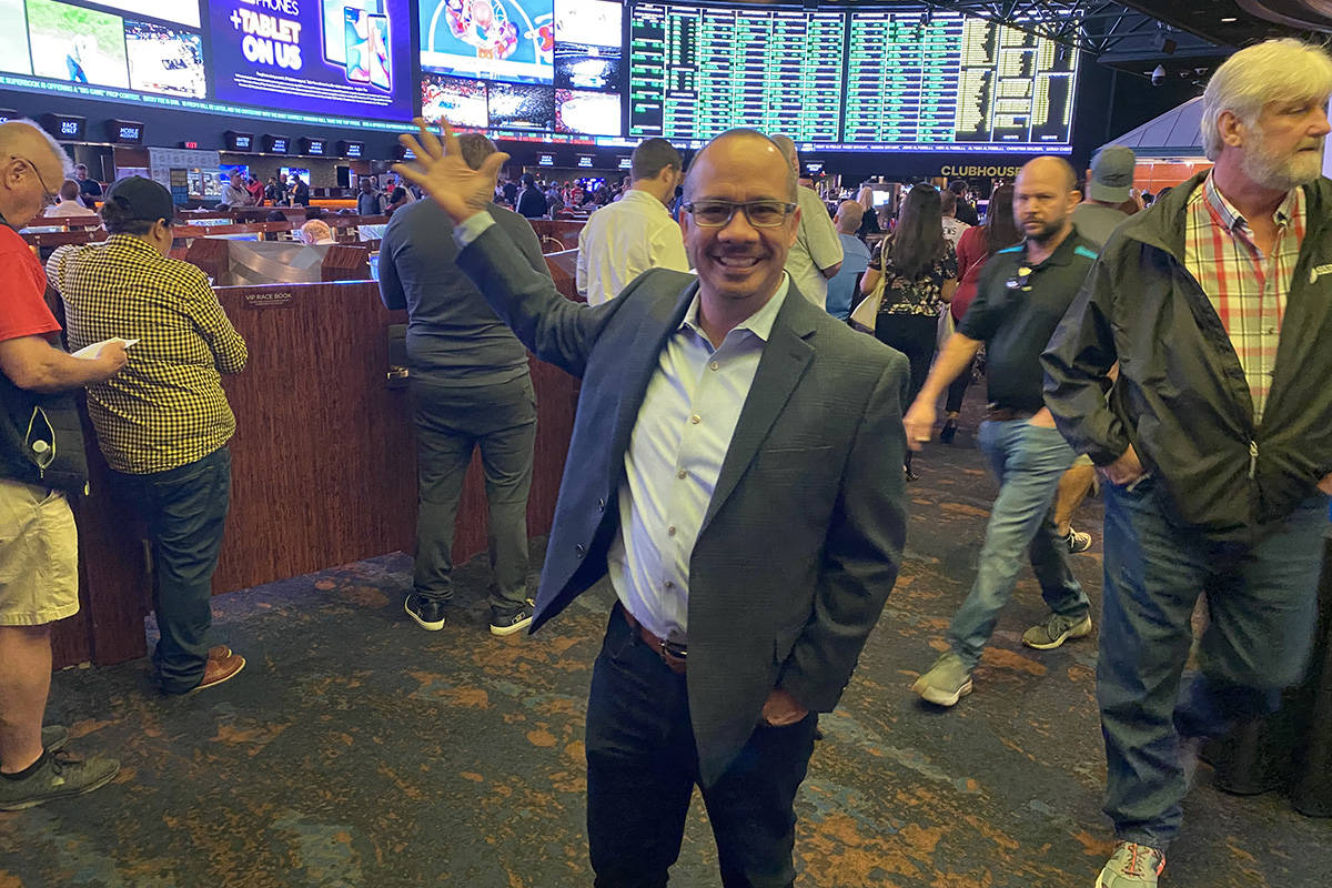 Westgate sportsbook vice president Jay Kornegay is shown at the Superbook on before Super Bowl ...