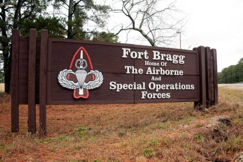 FILE - In this Jan. 4, 2020, file photo a sign for at Fort Bragg, N.C., is shown. Defense Secre ...