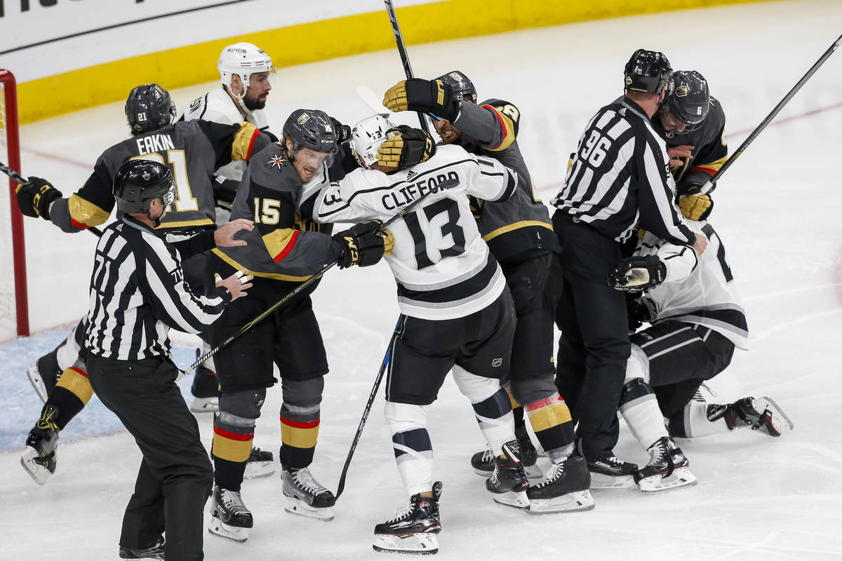 The Golden Knights and Los Angeles Kings get into a scuffle during the second period of Game 1 ...