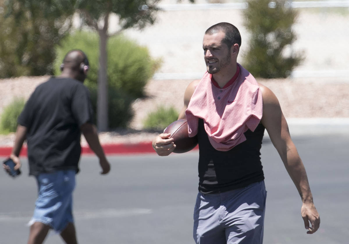 The Las Vegas Raiders quarterback Derek Carr is seen after an unofficial practice on Wednesday, ...