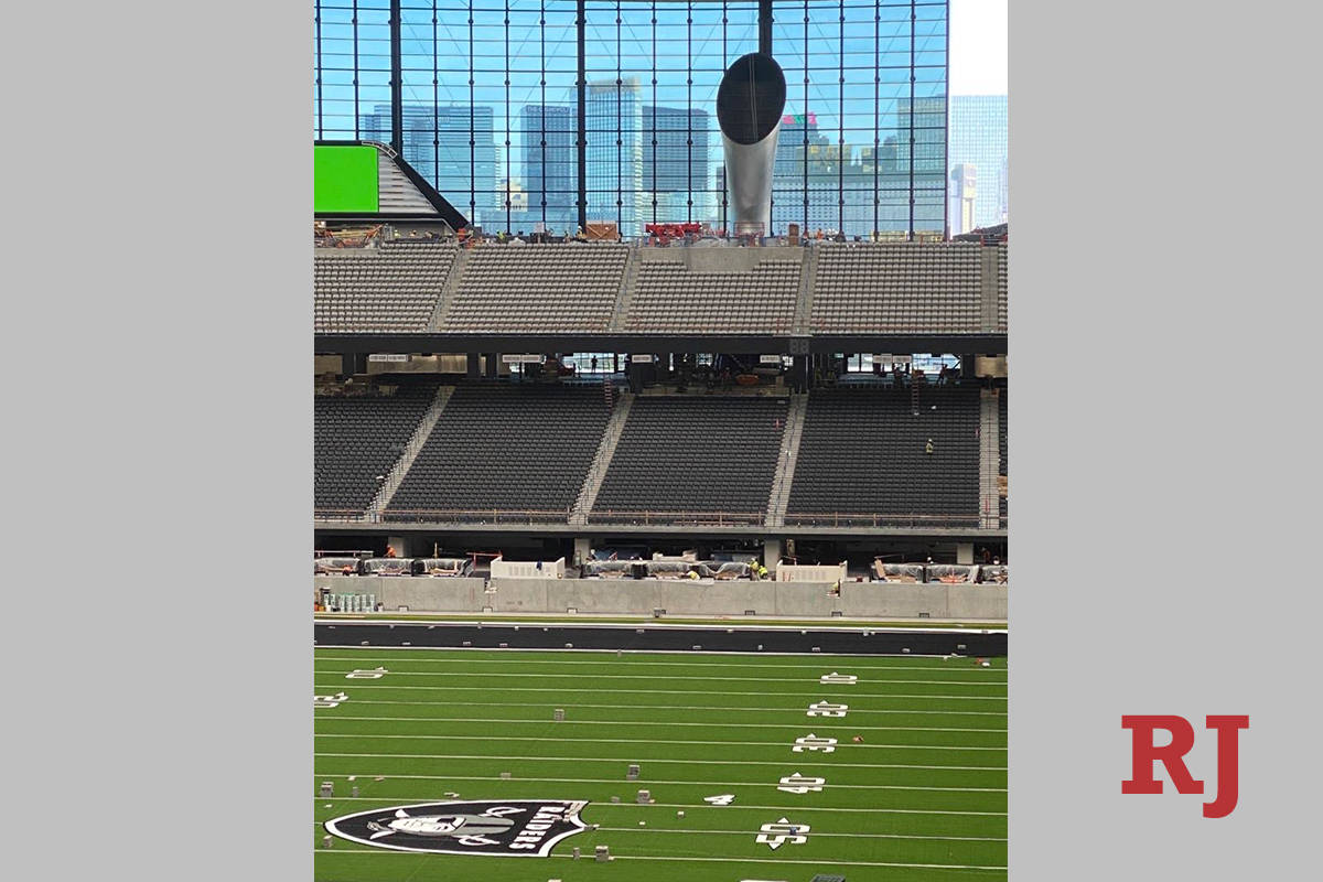 Raiders branded artificial turf will be used during tours of the team's $2 billion Allegiant St ...