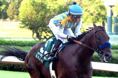 Jjockey Joel Rosario and Nadal cross the wire to win the second division of the Arkansas Derby ...