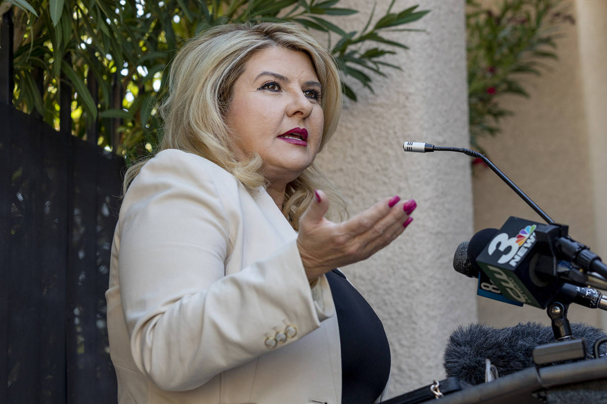 Las Vegas Councilwoman Michele Fiore holds a news conference at her home in Las Vegas on Thursd ...