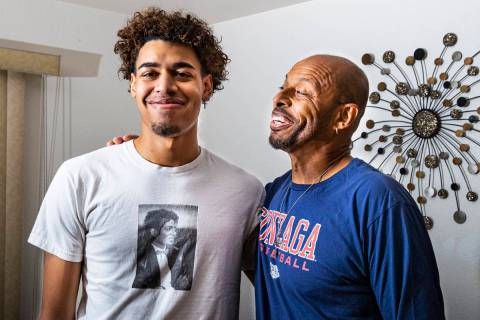 Gonzaga basketball commit Julian Strawther poses for a portrait with his father, Lee Strawther, ...