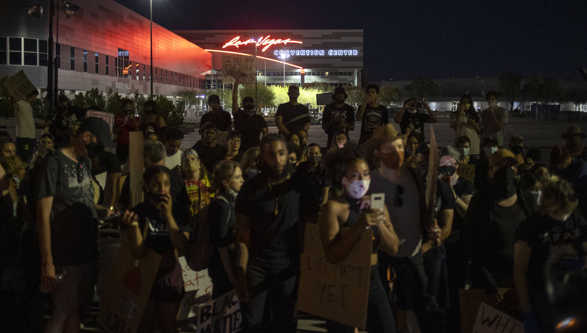 A protest against police brutality reached the Las Vegas Convention Center, organizers' final d ...