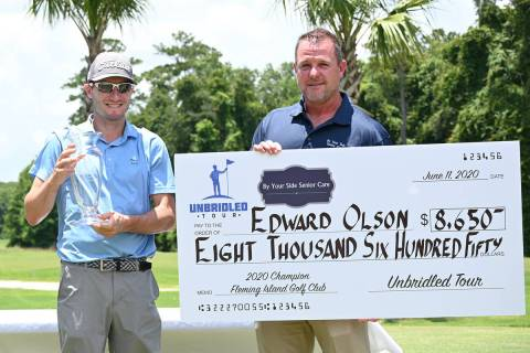 Former UNLV standout Eddie Olson, left, shot a course-record 60 at Fleming Island Golf Club on ...