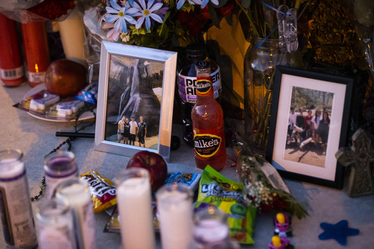 Items left at a memorial for of David Cox, 18, and Brandon Cox, 14, brothers who were killed in ...