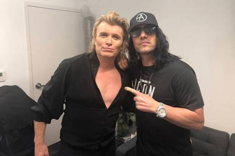 Hans Klok and Criss Angel are shown backstage at Thunderland Showroom at Excalibur on Tuesdasy, ...