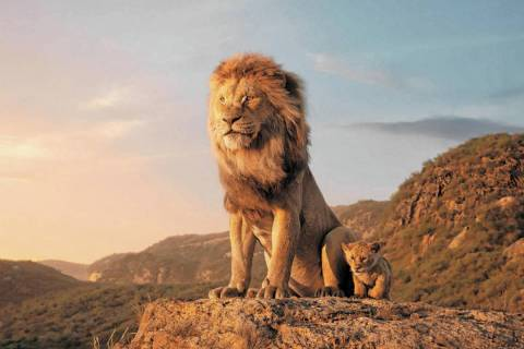 Mufasa, voiced by James Earl Jones, left, and young Simba, voiced by JD McCrary, in a scene fro ...