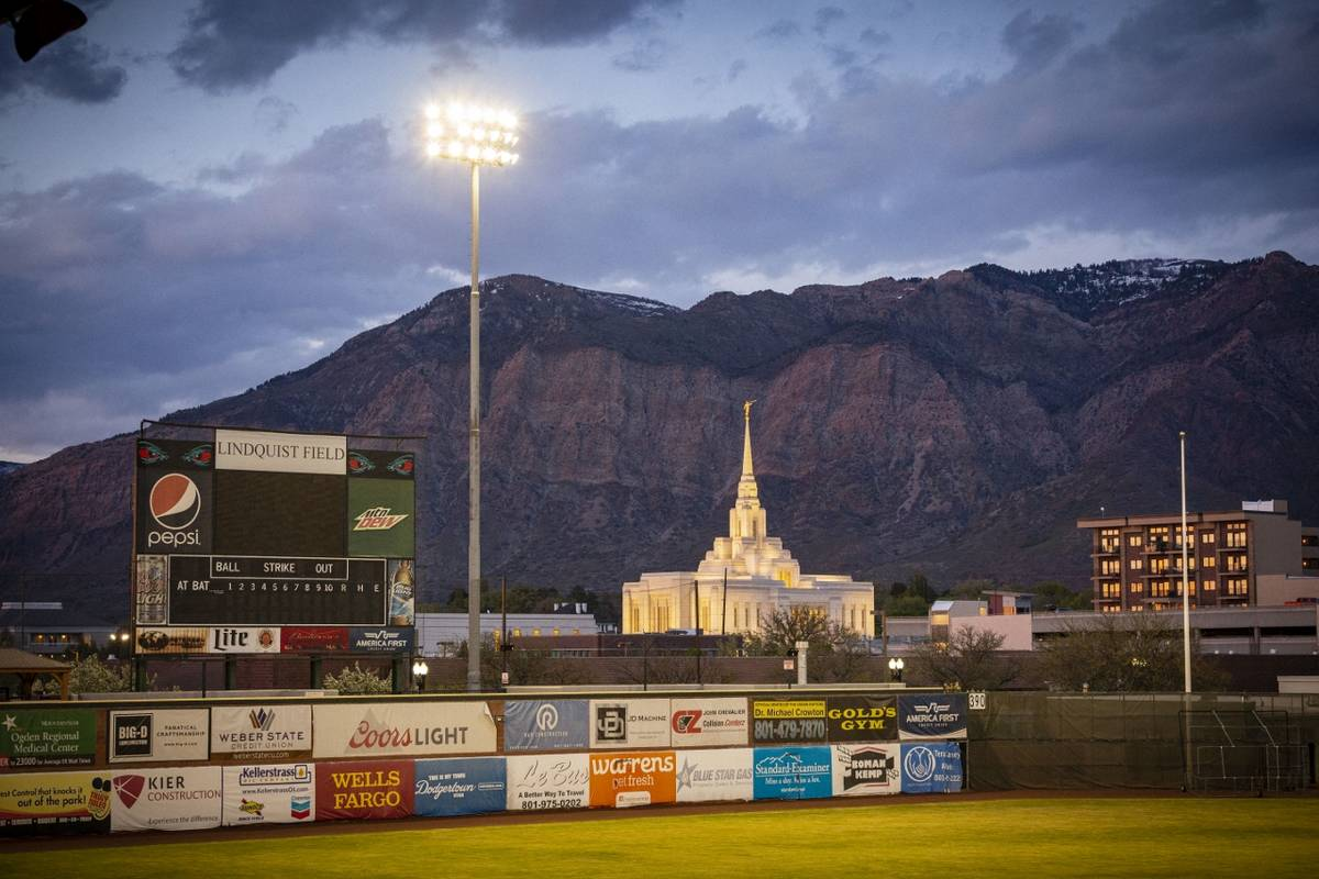 The Wasatch Mountains provide a scenic backdrop for Lindquist Field, home of the Ogden Raptors. ...