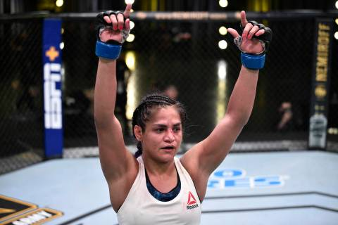 Cynthia Calvillo after the conclusion of her flyweight fight against Jessica Eye during the UFC ...