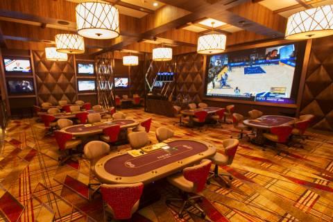 Sahara Las Vegas' poker room on Tuesday, June 16, 2020, in Las Vegas. (Benjamin Hager/Las Vegas ...
